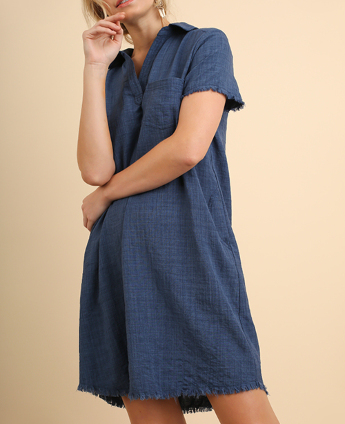 Washed Collared Shirt Dress
