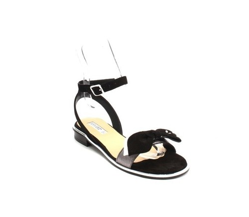 Black / Silver Suede Ankle-Strap Gladiator Flat Sandal