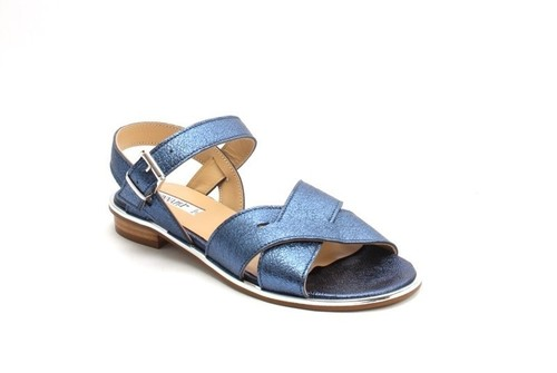 Navy / Silver Leather Comfort Strappy Flats Sandals