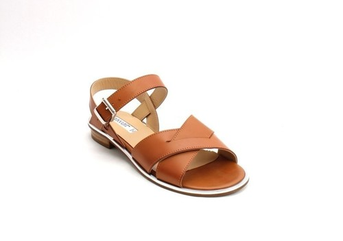 Brown / Silver Leather Comfort Strappy Flats Sandals