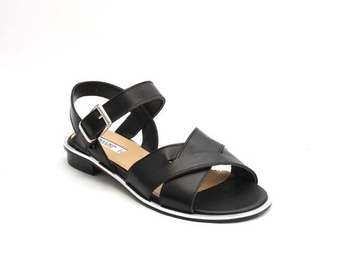 Black / Silver Leather Comfort Strappy Flats Sandals