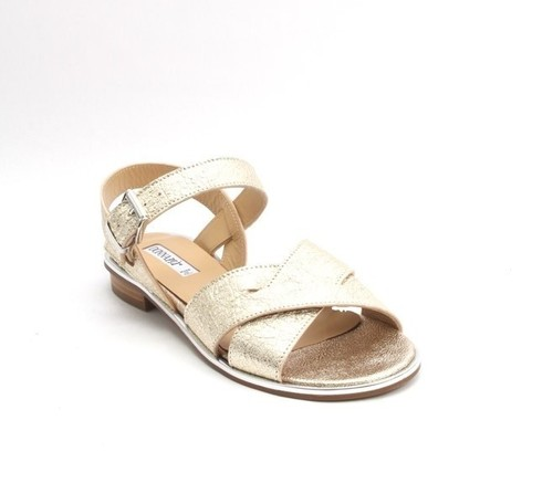 Gold / Silver Leather Comfort Strappy Flats Sandals