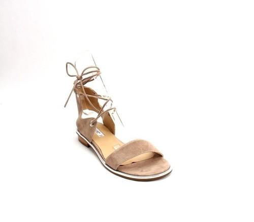 Beige Silver Suede Ankle-Strap Gladiator Flat Sandal