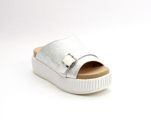 Silver / White Leather Platform Wedge Slides Sandal
