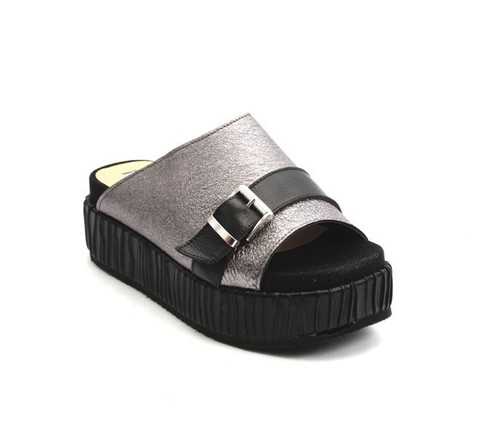 Metallic Gray Black Leather Platform Slides Sandals