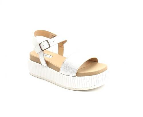 Silver / White Leather Suede Platform Flat Wedge Sandal