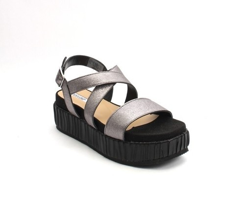 Metallic Gray / Black Leather Platform Flats Sandals