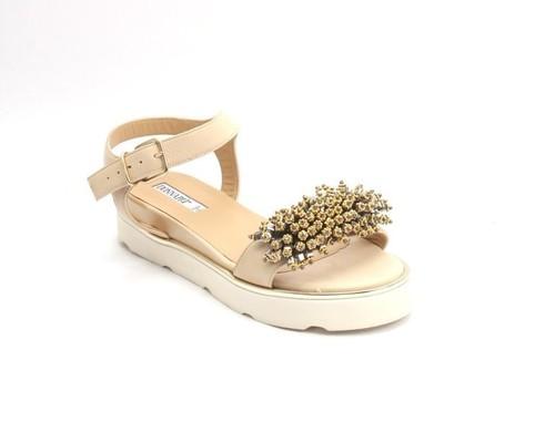 Beige Leather Platform Ankle Strap Flats Sandals