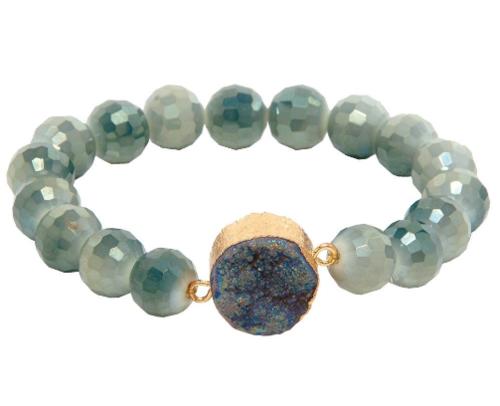 BK/GY Glass Druzy Bracelet