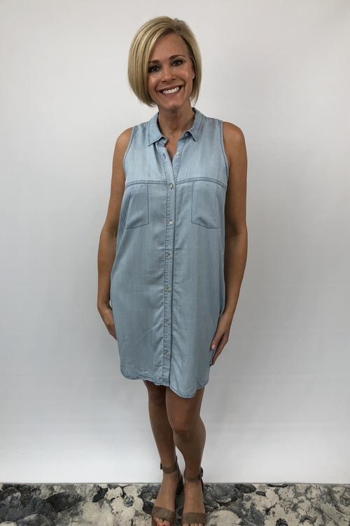 Brantley Chambray Sleeveless Open Back Dress