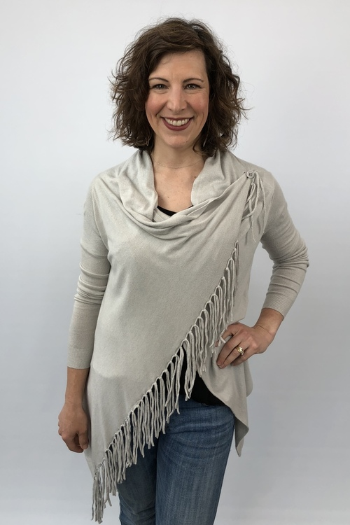 Heather Silver Fringe Cardigan