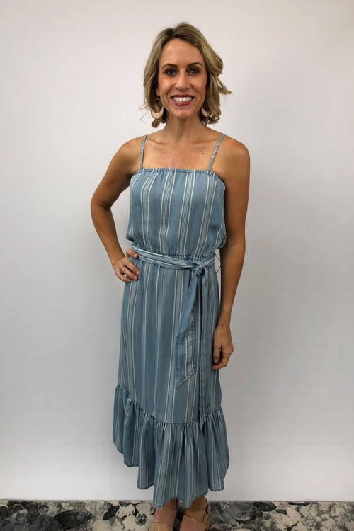 Tailyn Chambray Tie Waist Striped Dress