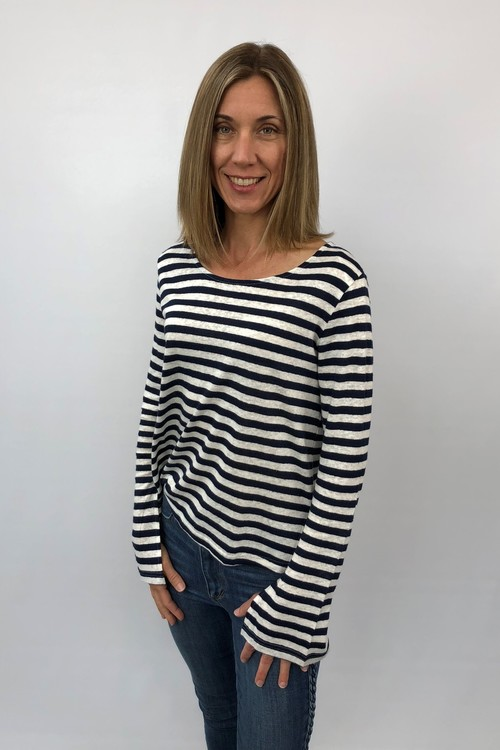 Striped Linen Slub Pullover