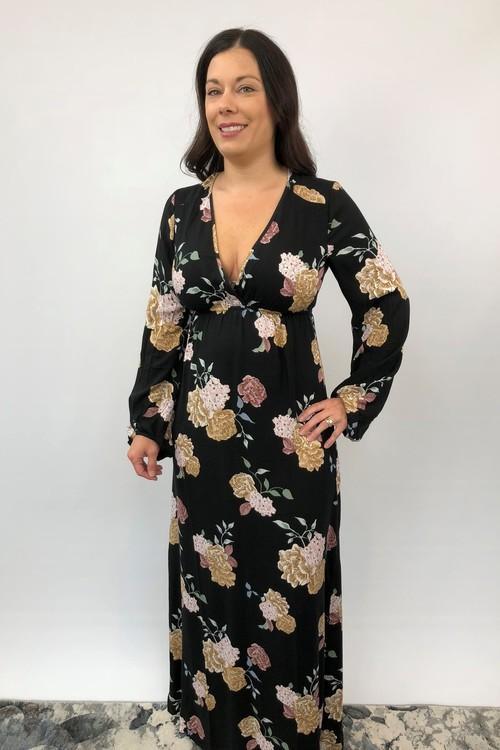 Black Floral Printed Back Detail Dress