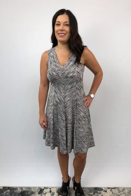 V-Neck  Panel A Line Dress