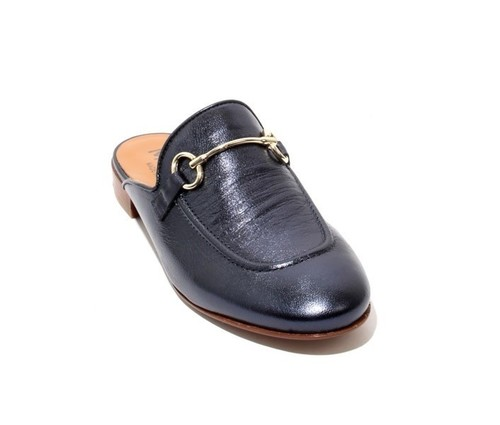 Navy Leather Buckle Sandals Flat Mules Shoes