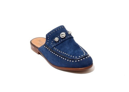 Navy Suede Leather Studded Sandals Flat Mules Shoes