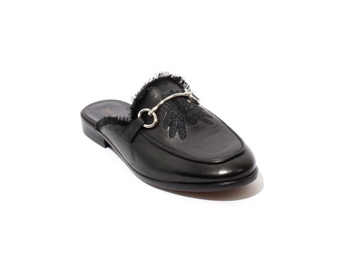 Black Leather Buckle Sandals Flat Mules Shoes