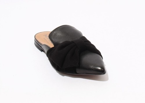 Black Leather Suede Pointy Sandals Bow Flat Mules Shoes