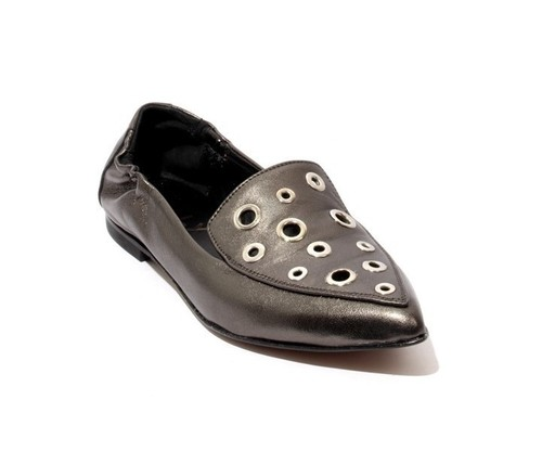 Metallic / Silver / Leather Pointed Toe / Loafer Flats