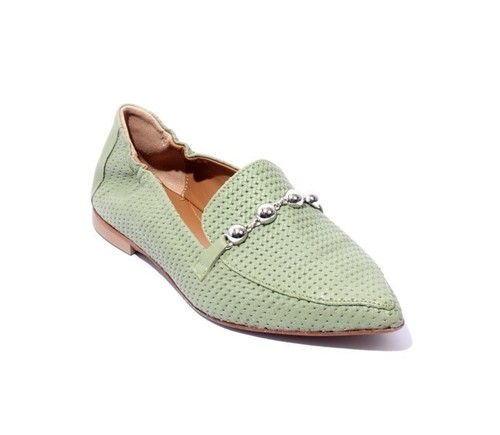 Green Stamped Leather Pointy Toe Ballet Flats Moccasins