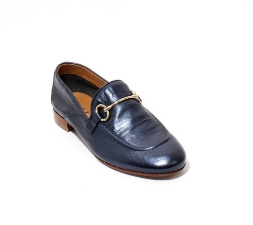 Metallic Navy Leather / Buckle / Loafer Flats