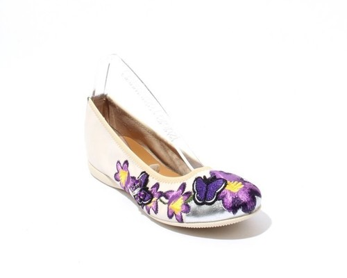 Cream Silver Purple Floral Soft Leather Ballet Flats