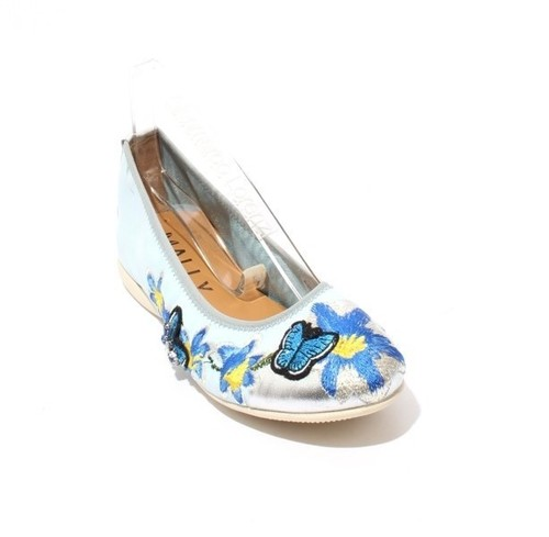 Blue Multi-Color Floral Leather Comfortable Ballet Flats
