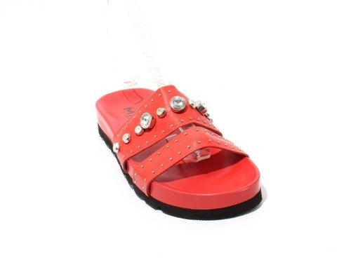 Red Leather Studded Platform Slides Sandal