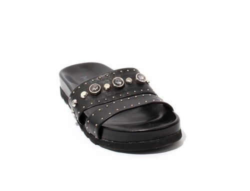 Black Leather Studded Platform Slides Sandals