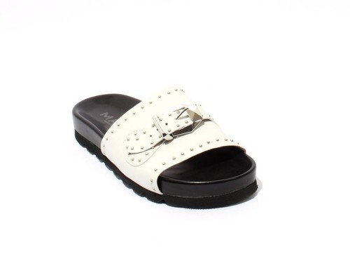 White Leather Studded Platform Slides Sandals