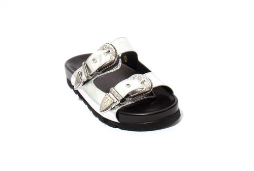 Silver / Black Leather Buckle Platform Slides Sandals