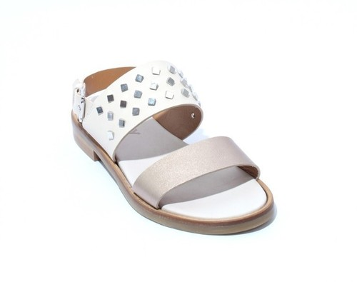 Cream / Bronze Leather Studded Slingbacks Sandals