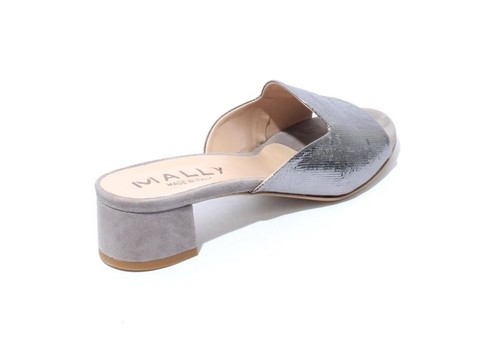 c17a3c1ab42 Silver   Gray Leather Suede Slip On Heels Slides Sandals By Mally ...