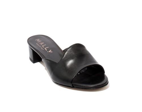 1137ec97552 Black Leather Slip On Strappy Heels Slides Sandals