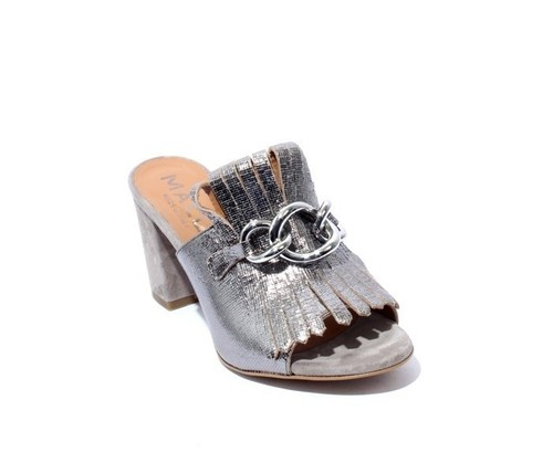 3026dd98ba0 Silver   Gray Leather   Suede Fringe Slides Heel Sandals By Mally ...