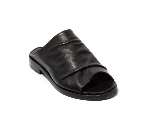 Black Leather Studded Slides Heel Sandals