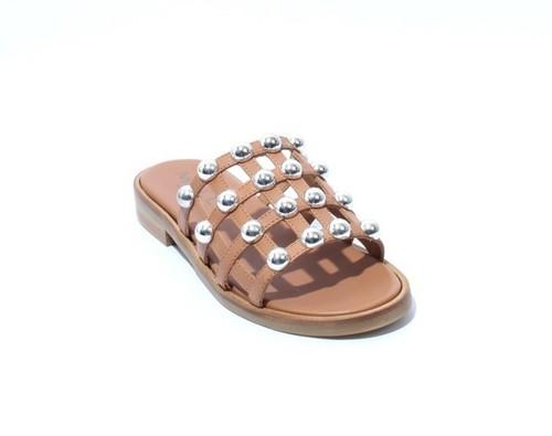 Brown / Silver Leather Studded Slides Heel Sandals