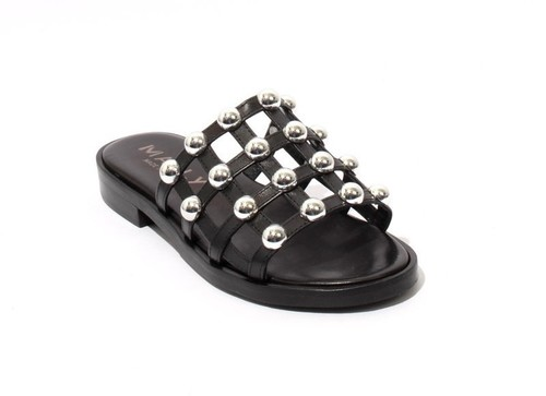 Black / Silver Leather Studded Slides Heel Sandals