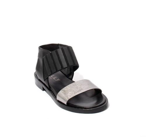 Black / Silver Leather / Elastic Strappy Gladiator Sandals
