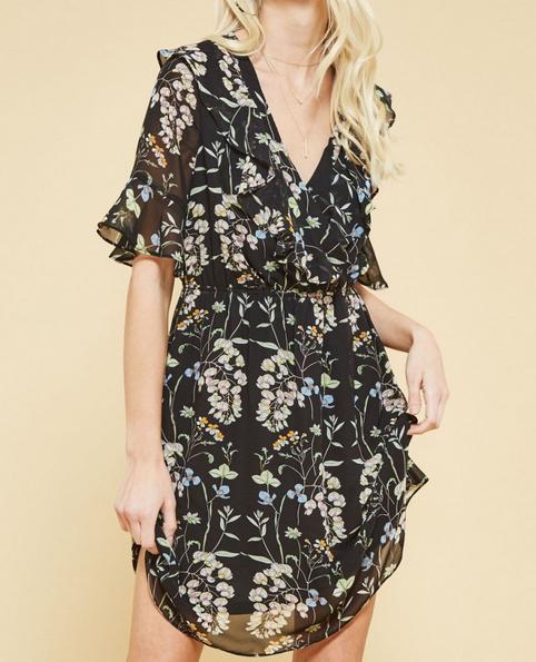 Floral Ruffle Short Dress
