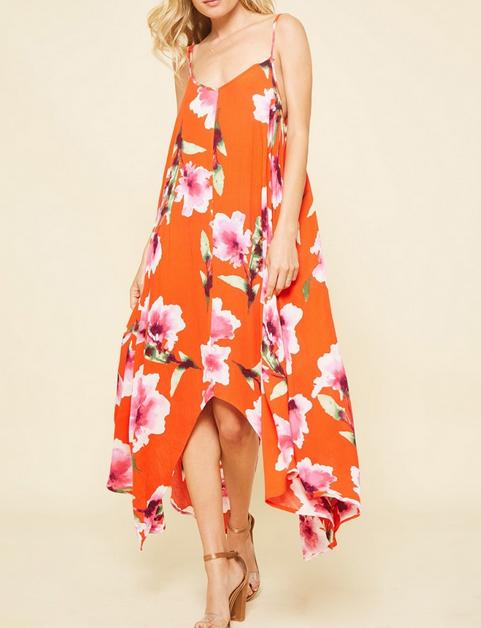 Floral Asymetrical Spaghetti Strap Dress