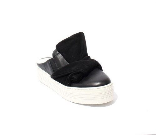 Black / White Leather Suede Platform Sandals Bow Mules Shoes