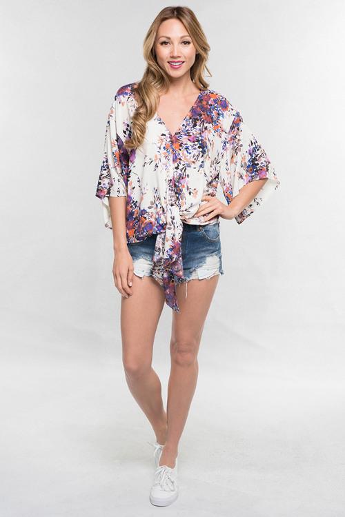Lilac Printed Tie Front Kimono