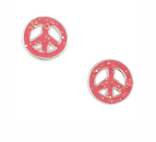 Pink Glitter Peace Sign Sterling Studs