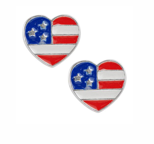 USA Heart Studs Sterling Silver