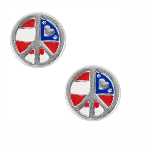 USA Peace Sign Stud Sterling Silver