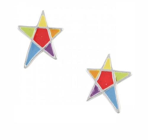Rainbow Star Stud Sterling Silver