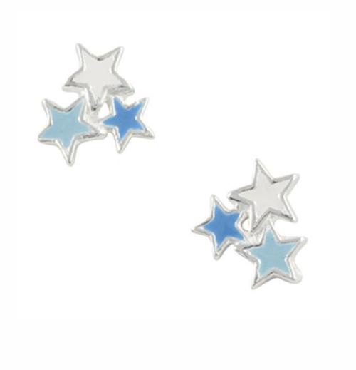 Blue Star Cluster Stud Sterling Silver