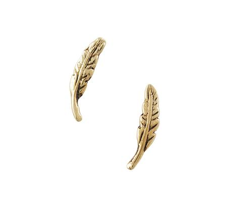 Feather Stud 14K Plated